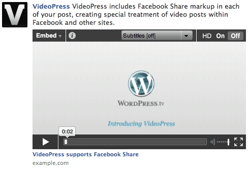 VideoPress Facebook Share playback