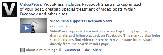 VideoPress Facebook Share