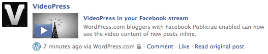 Facebook Publicize with VideoPress