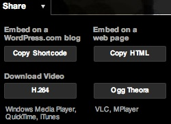VideoPress share menu